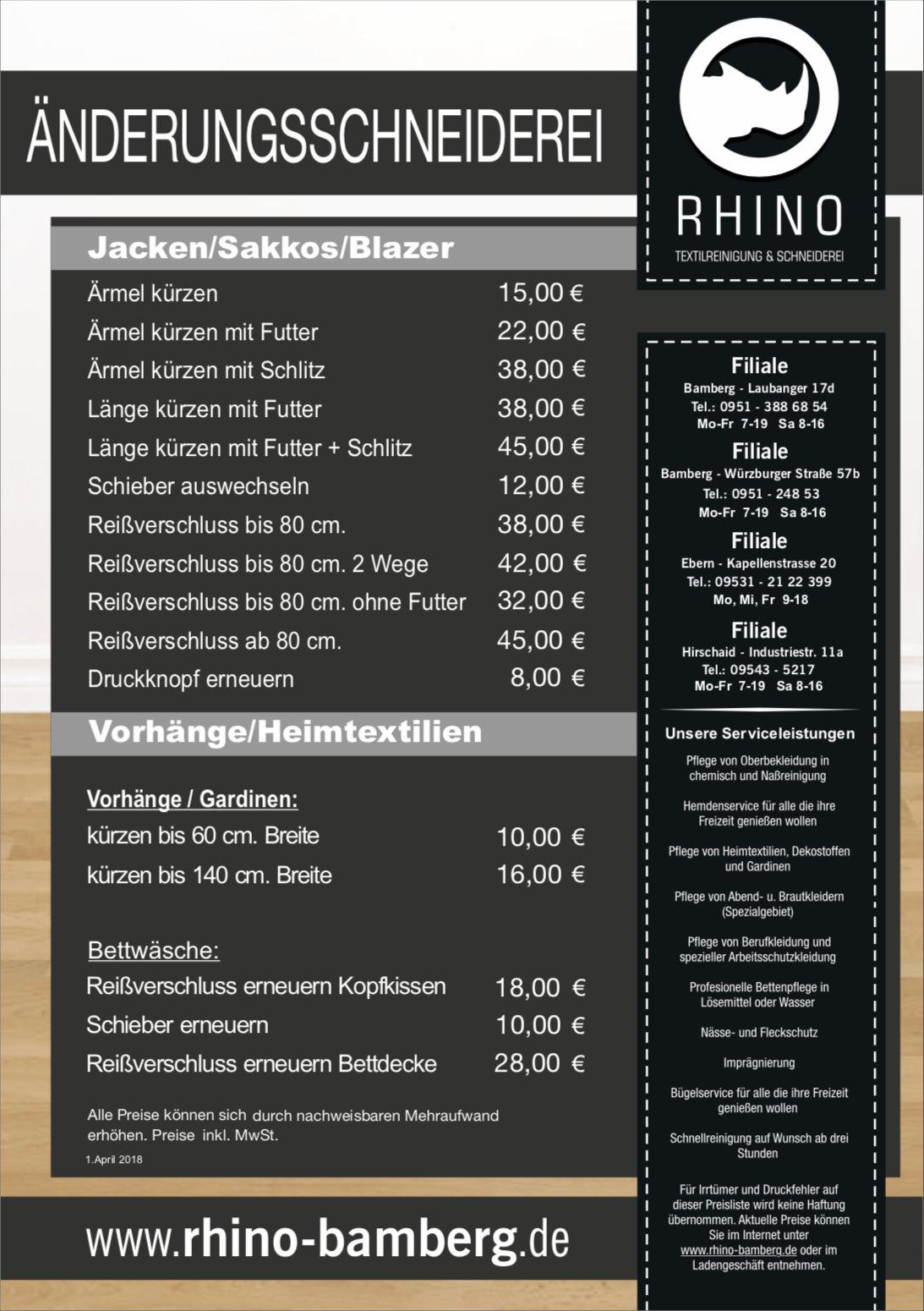 Aktuelles Rhino Textilreinigung In Bamberg Ebern Und Hirschaid